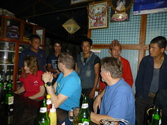 Welcome our porters during first diner in Arughat Bazar