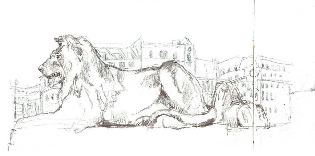 Trafalgar Square Lions Drawing Trafalgar Square Lions 1