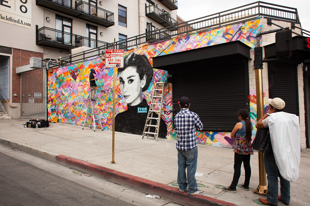 Free humanity 15 x 50 foot audrey hepburn mural words by for Audrey hepburn mural los angeles