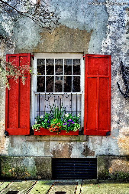 rustic house with red window box and shutters flickr. Black Bedroom Furniture Sets. Home Design Ideas