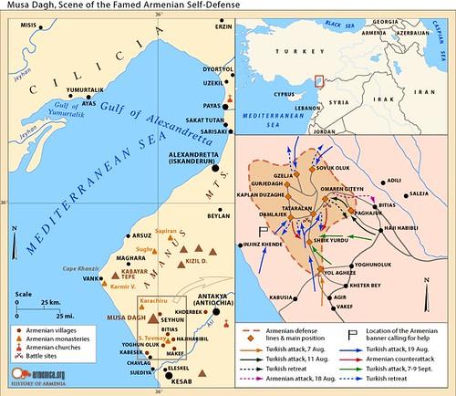 Mappa della resistenza sul Mussa Dagh