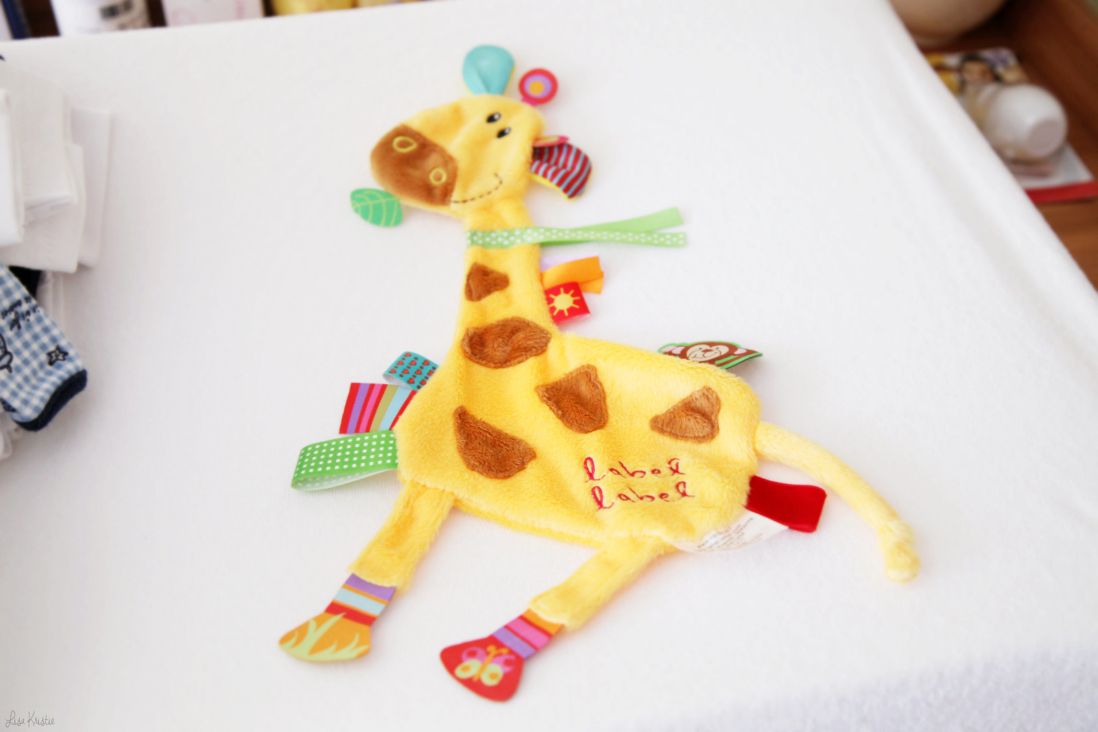 giraffe label label stuffed soft plush toy infant baby colorful bright yellow gender neutral