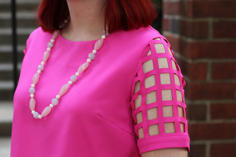 square laser cut sleeved shirt from tobi vintage pink purple beaded necklace