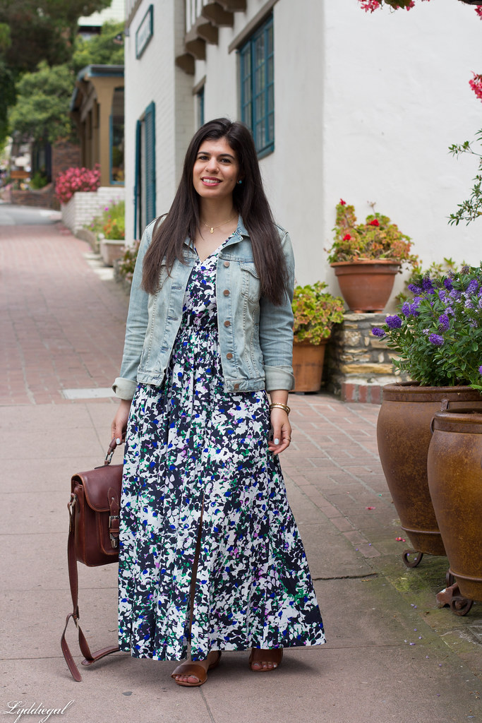Floral Maxi Dress, Denim Jacket, brown sandals-5.jpg