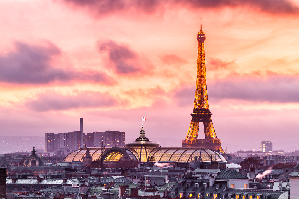 Sunset On Eiffel Tower And Grand Palais Glass Roof From To