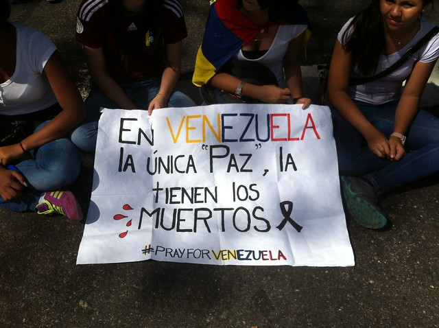At a protest in Venezuela. (kirakar/Flickr)