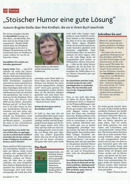 Als Brunhilde, Barbara und ich das Ewige Licht auspusteten - Edingen-Neckarhausen - Kinheits- und Jugenderinnerungen - Konradsblatt - Stoischer Humor