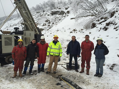 Angelica Perez-Delgado with an international drilling crew