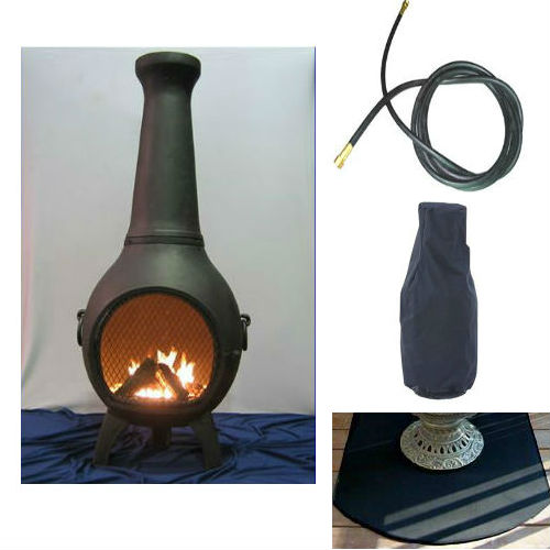 QBC Bundled Blue Rooster Prairie Chiminea with Propane Gas Kit, Half Round Flexbile Fire Resistent Chiminea Pads, 20 ft Gas line, and Free Cov Charcoal Color - Plus Free QBC Metal Chiminea Guide