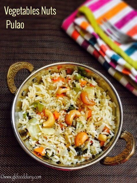 Vegetables Nuts Pulao Recipe for Toddlers and Kids1