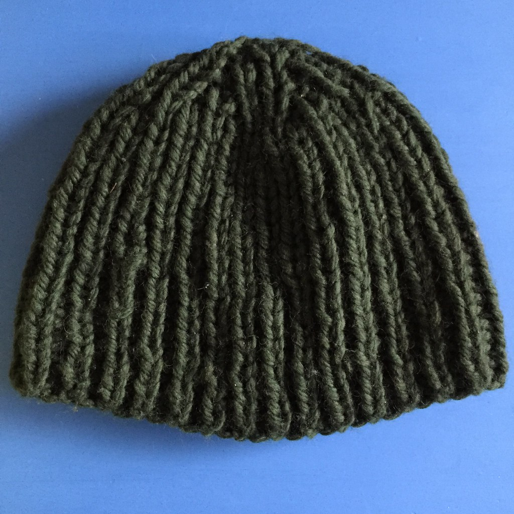 green ribbed big wool beanie