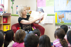 Teacher reads book to students