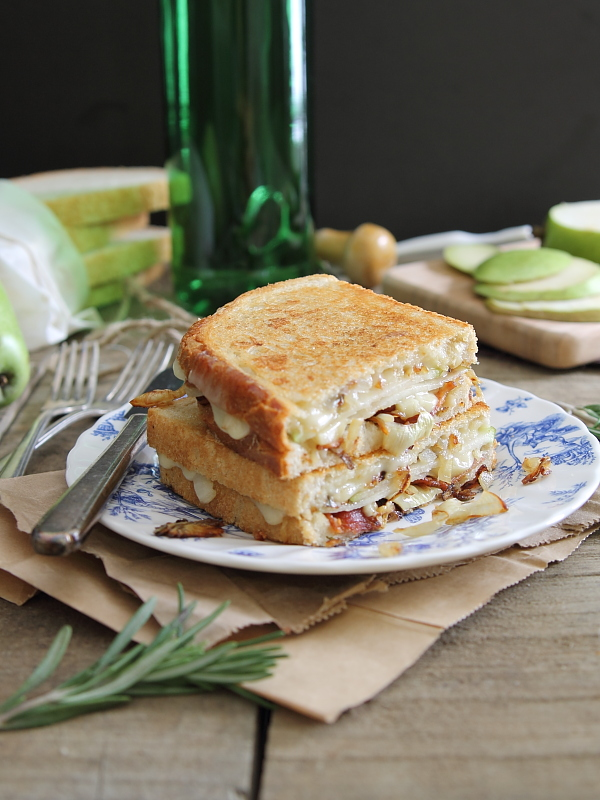 Pear and bacon grilled cheese with brie and caramelized onions