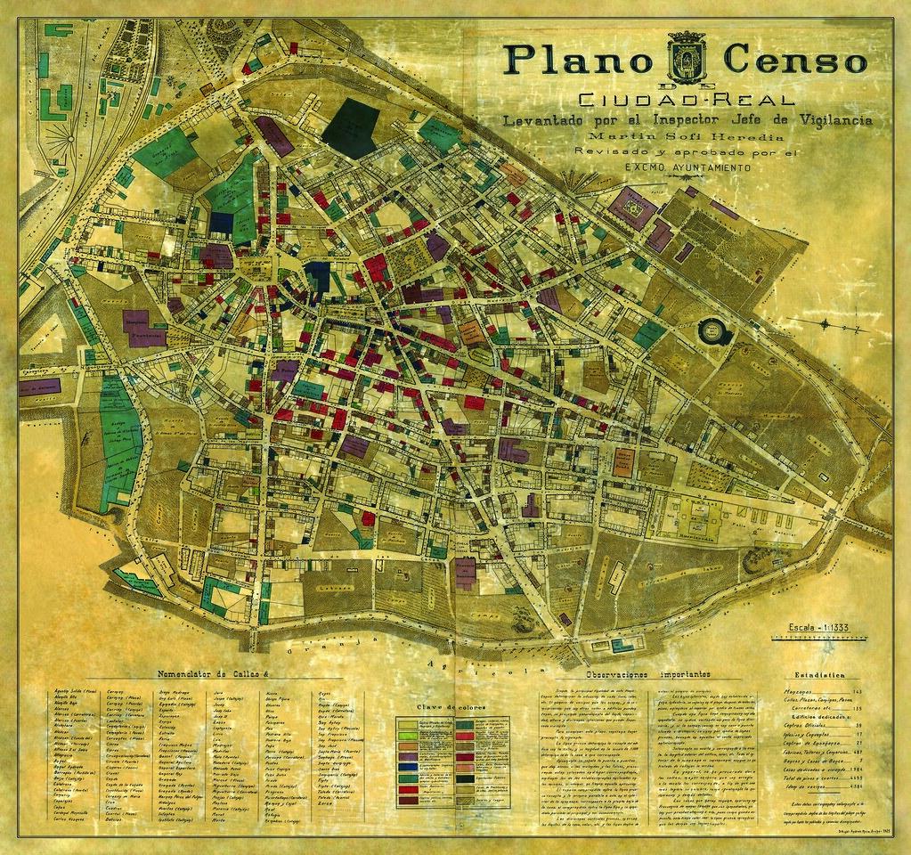 Plano censo de ciudad real 1925 t tulo plano censo de - Plano de ciudad real ...