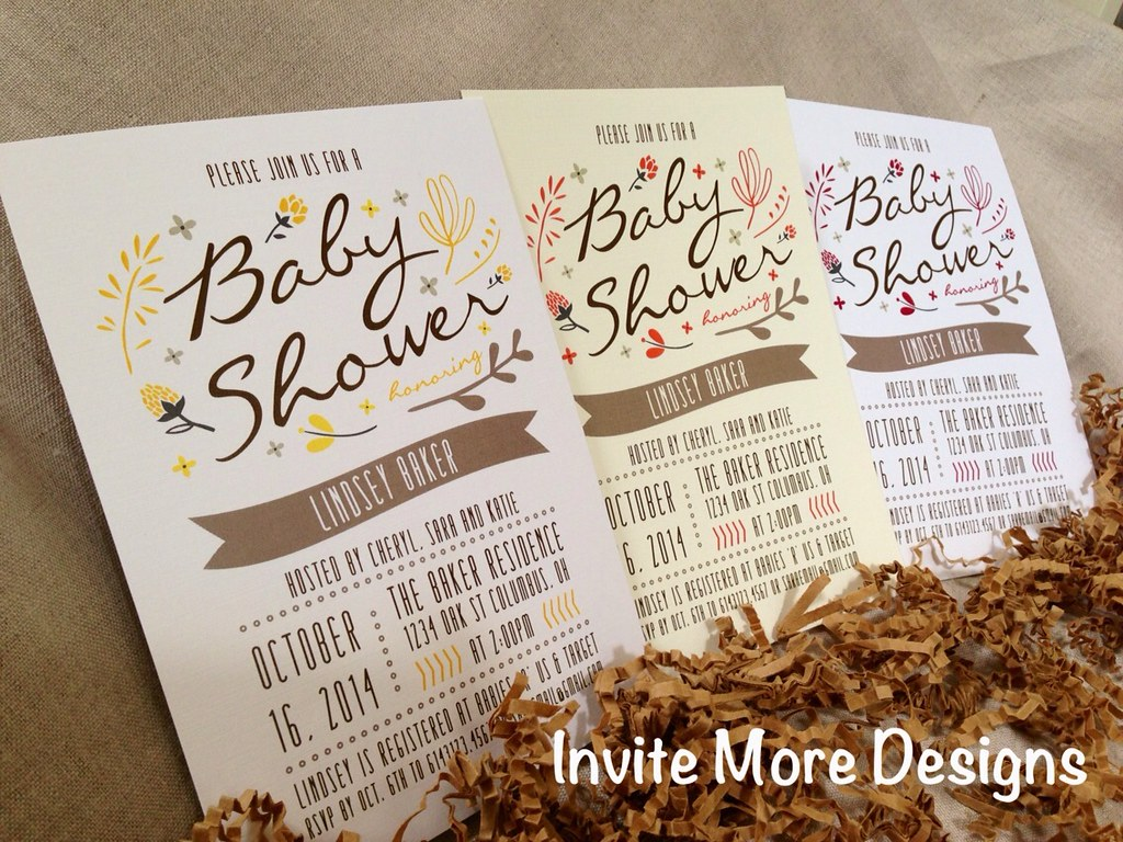 Fall leaves, flowers baby shower invitations   Baby shower i…   Flickr