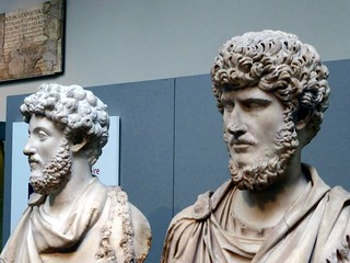 Portrait busts of Marcus Aurelius and Lucius Verus