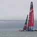 Team New Zealand approaches a foggy Golden Gate