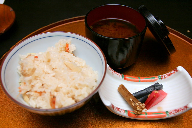 "Rice with ""sakura"" shrimp, served with pickles and red bean miso soup"
