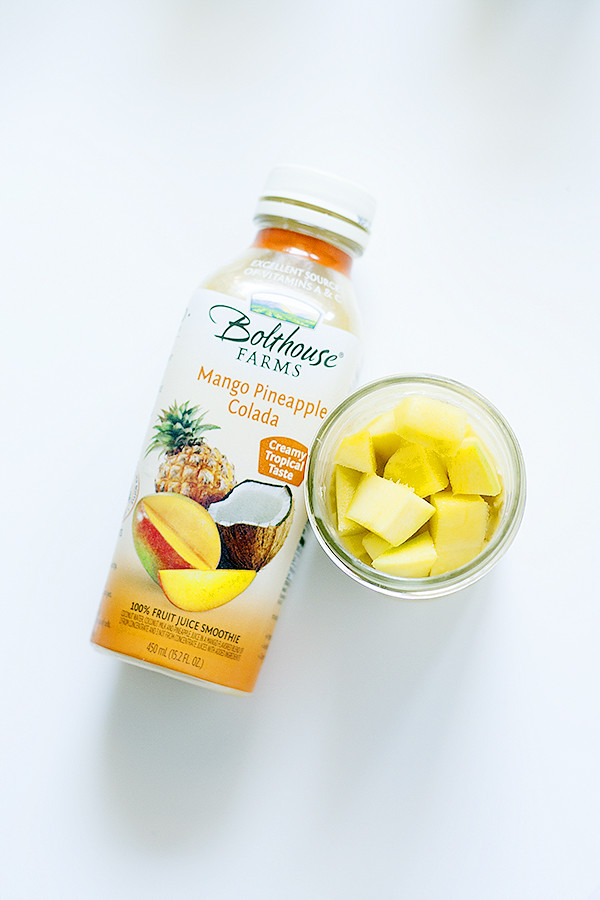 tropical overnight oats with mango #BolthouseFarms #ad