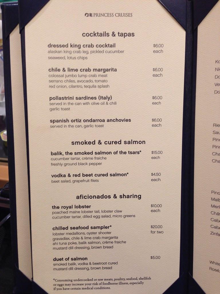 Royal princess ocean terrace seafood bar menu for Terrace bar menu