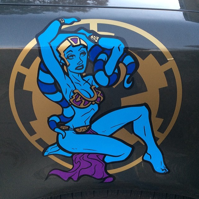 Art Of The Pinup: My Finished Twi'lek Pinup Design In Vinyl On My Buddies Ca
