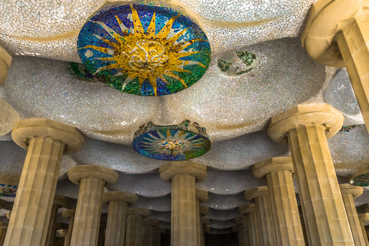 Gaudi Sun Medallions - Park Guell | Mosaic sun medallions ...