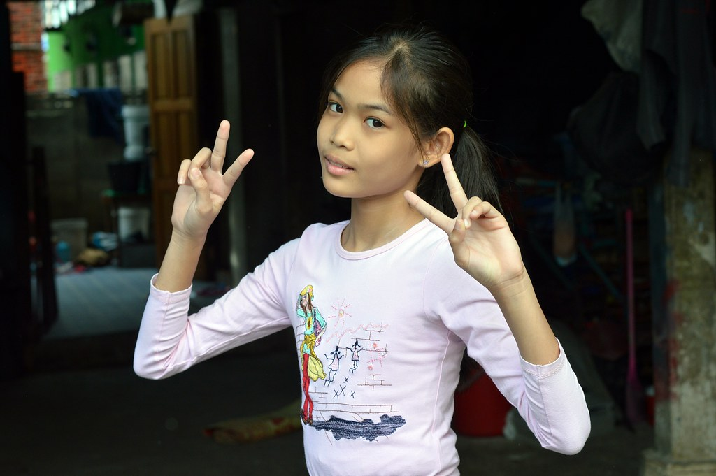 Cute Preteen Girl Sending You Peace  The Foreign -8605
