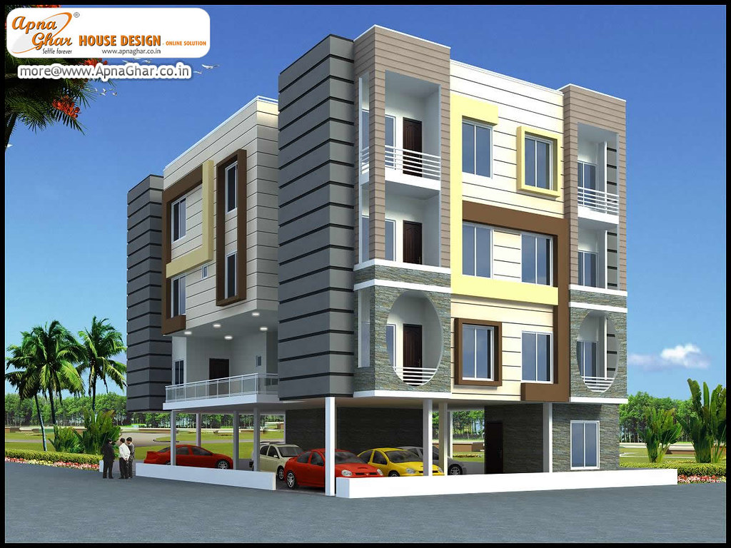 3d exterior view of an apartment design 3d exterior for Building exterior colour