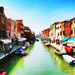 Digital Oil Painting of a Canal in Murano, Italy
