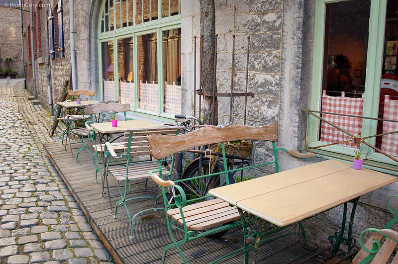 Restaurant tables on the street in Durbuy