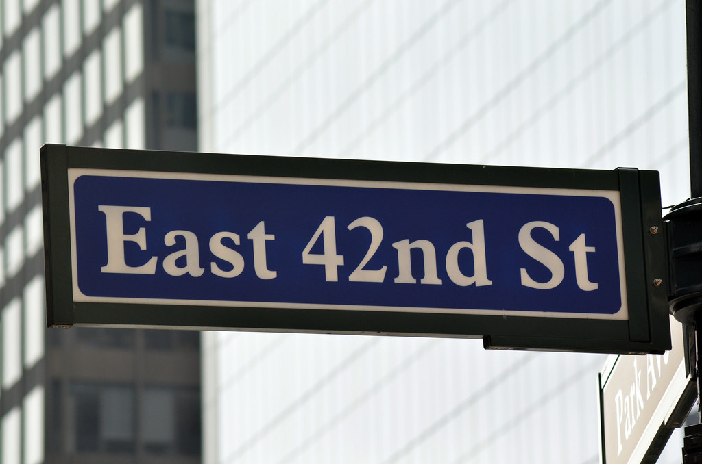East 42nd Street Sign | 42nd Street is a major crosstown ...