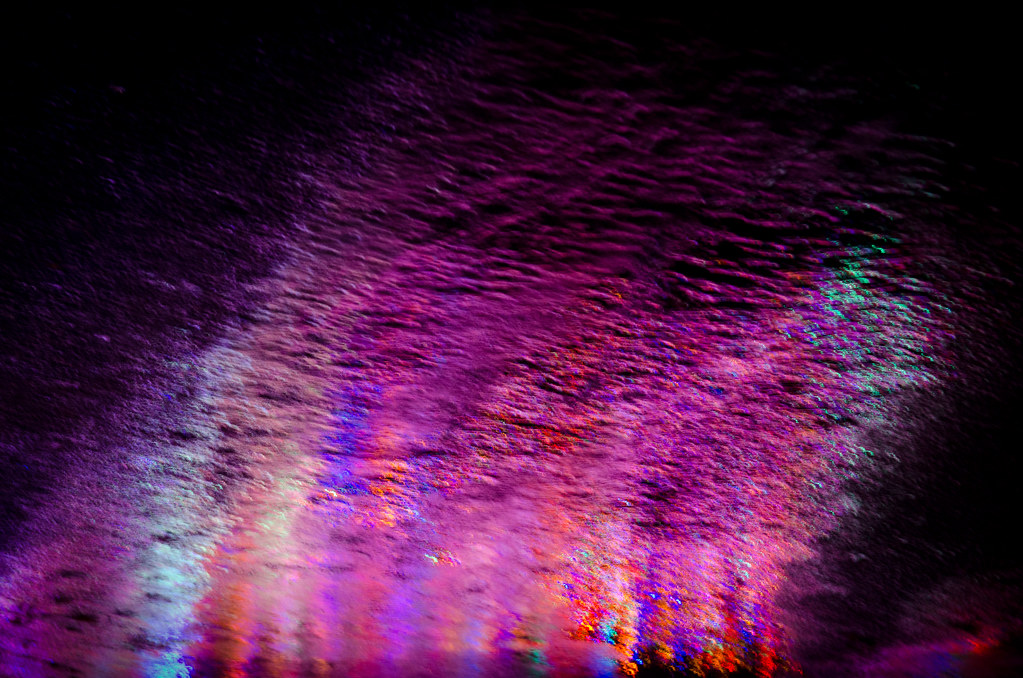 Freaky Eruption Christmas Lights Reflected On Wet