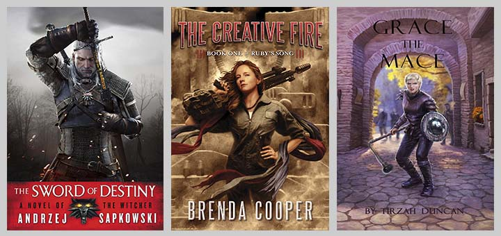 human with weapon in book covers