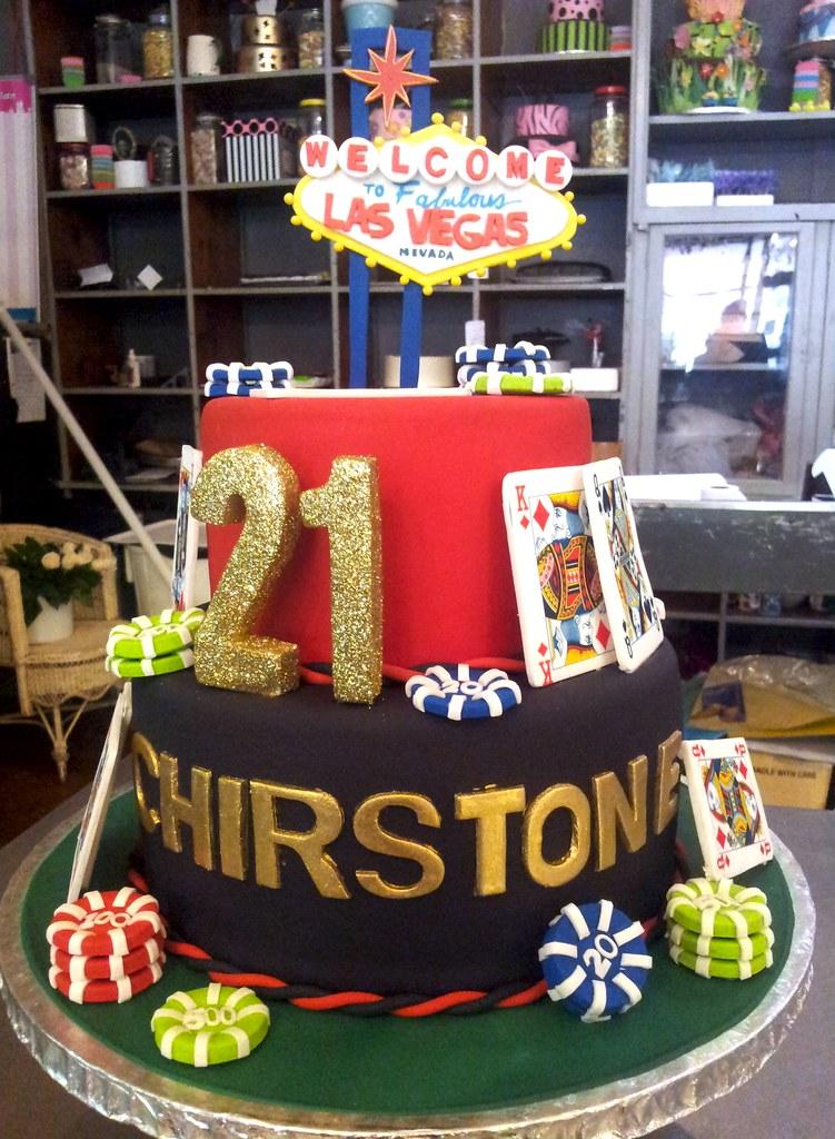 2 Tier Las Vegas Themed 21st Birthday Cake Charly S