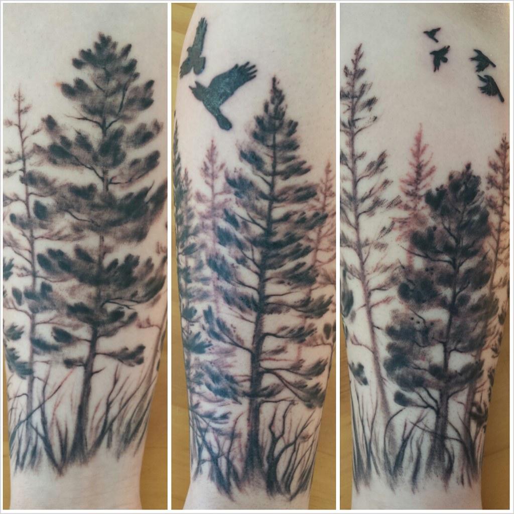 Tattoo Ideas Trees: Pine Trees/crows Forearm Tattoo