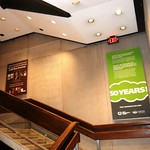 Alden Library stairwell banners during Ohio University Press Week