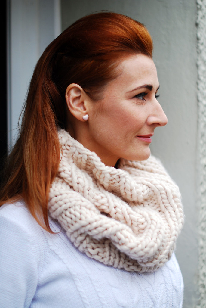 Blush pink snood, white sweater