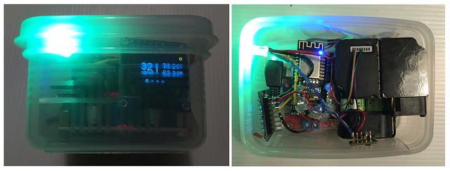 LASS另一位Maker 所自造的微型空汙監測器,這是可外出攜帶式的版本 圖片來源:LASS-Maker James Lu 提供