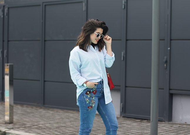 embroidered jeans with slingback chanel heels furla metropolis bag marble sunglasses myblueberrynightsblog