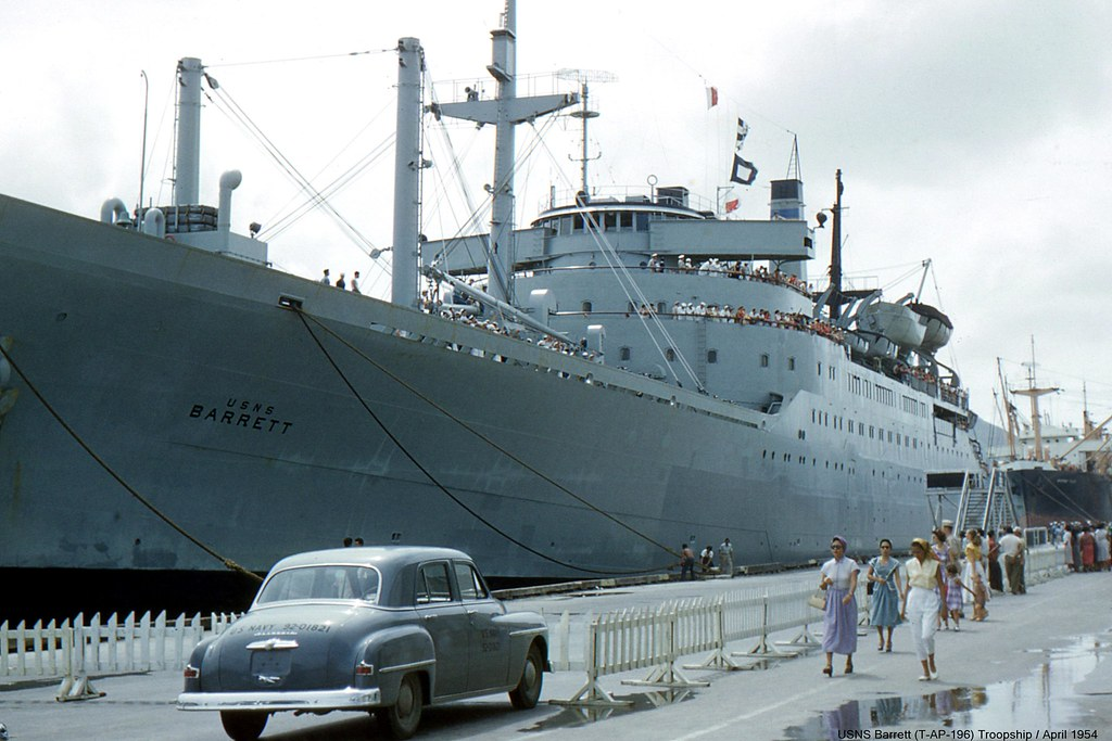Usns Barrett T Ap 196 Troopship Naval Base Guam 1954