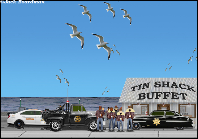 Sheriff Boomer and Lt Silverthorn arrived at Tin Shack Buffet ©Jack Boardman