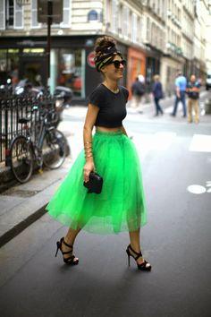 falda tul verde gusanito