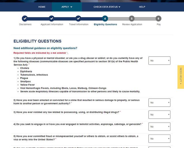 Preguntas que te hacen en el ESTA para poder ingresar en los Estados Unidos