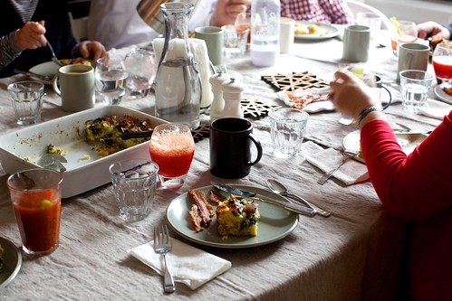 and also spinach strata, blood orange mimosas and bloody marys
