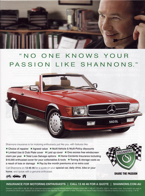 Shannons car insurance 1987 mercedes benz 560 sl for Mercedes benz insurance