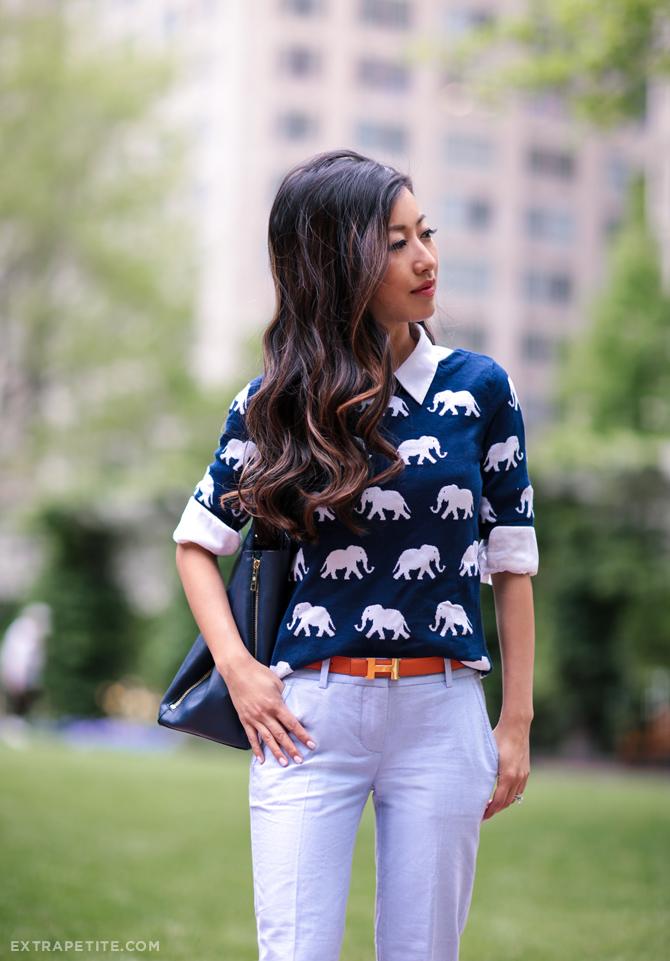 talbots elephant print jcrew petite pants work outfit