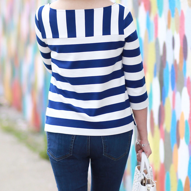 Ann Taylor Stripe Boatneck 3/4 Sleeve Top