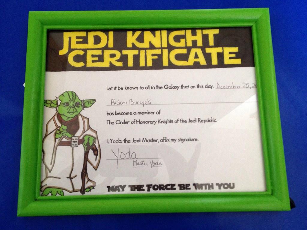 Jedi knight certificate frame certificate found online flickr for Jedi knight certificate