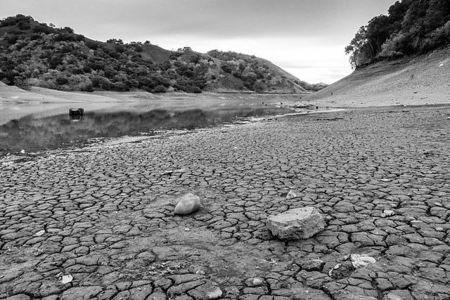 photo of effect of drought on Uvas Reservoir