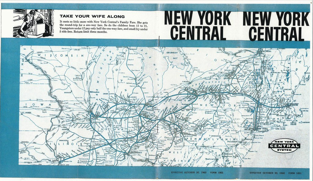 New York Central    Railroad     Timetable     System       Map     1960